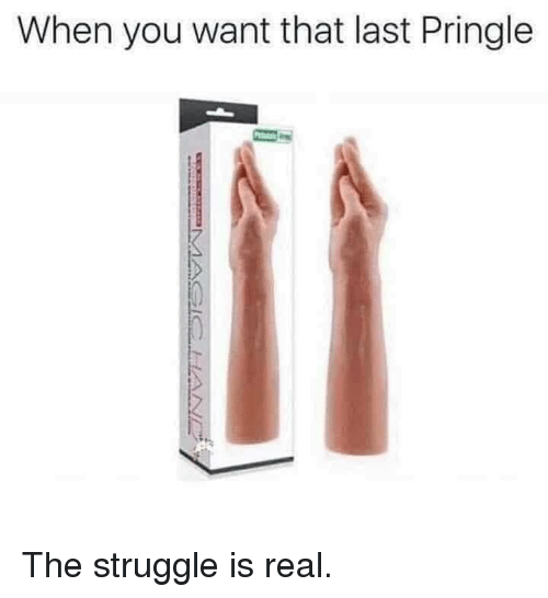 Struggle, The Struggle Is Real, and You: When you want that last Pringle The struggle is real.