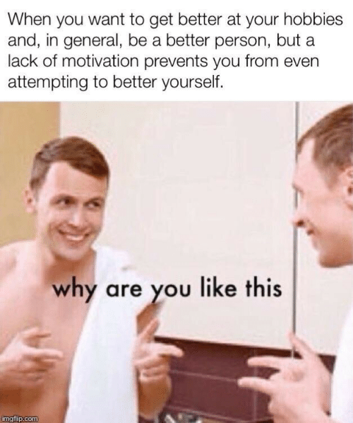 Why Are You Like This, Motivation, and Why: When you want to get better at your hobbies  and, in general, be a better person, but a  lack of motivation prevents you from evern  attempting to better yourself.  why are you like this