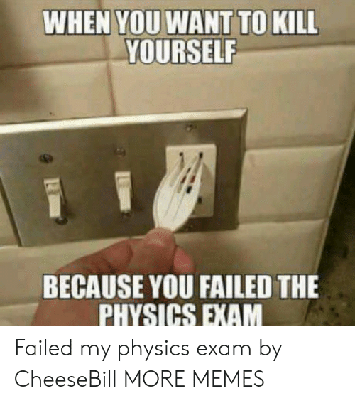 Dank, Memes, and Target: WHEN YOU WANT TO KILL  YOURSELF  BECAUSE YOU FAILED THE  PHYSICS EXAM Failed my physics exam by CheeseBill MORE MEMES