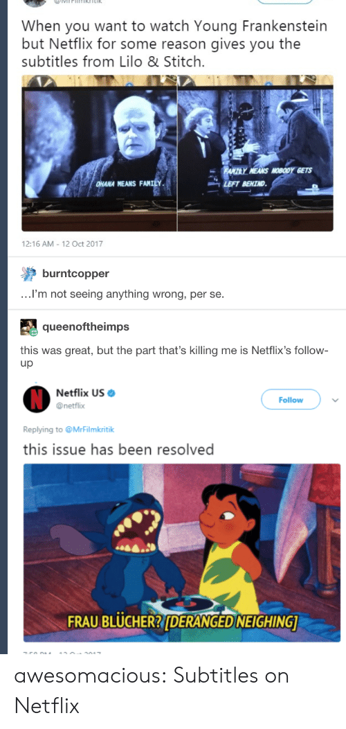 Lilo & Stitch, Netflix, and Tumblr: When you want to watch Young Frankenstein  but Netflix for some reason gives you the  subtitles from Lilo & Stitch.  HANA MEANS FANILY  -LEFT BEHIND  12:16 AM 12 Oct 2017  burntcopper  .I'm not seeing anything wrong, per se.  queenoftheimps  this was great, but the part that's killing me is Netflix's follow-  up  Netflix US  @netflix  Follow  Replying to @MrFilmkritik  this issue has been resolved  FRAU BLUCHER?DERANGED NEIGHING awesomacious:  Subtitles on Netflix