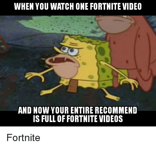 When You Watch One Fortnite Video And Now Your Entire Recommend S
