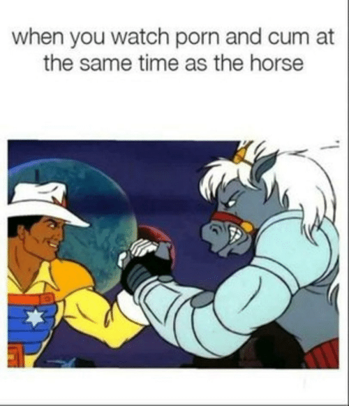 Cum, Horse, and Porn: when you watch porn and cum at  the same time as the horse