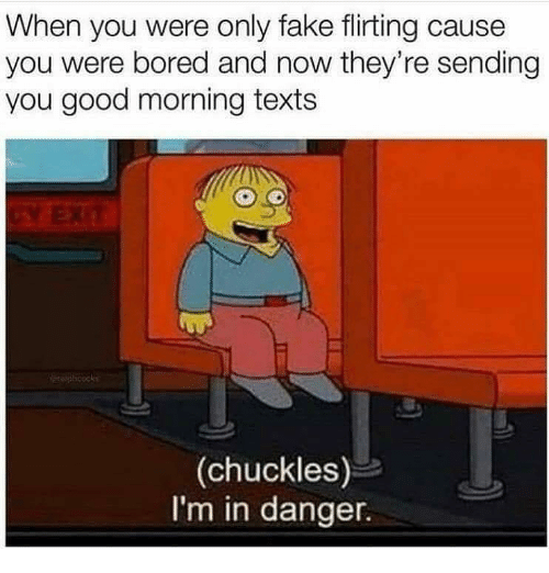 Bored, Fake, and Memes: When you were only fake flirting cause  you were bored and now they're sending  you good morning texts  icook  (chuckles)  I'm in danger.