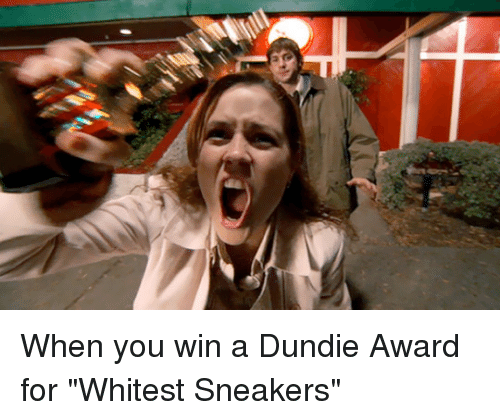 "The Office, Wins, and Win: When you win a Dundie Award for ""Whitest Sneakers"""