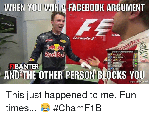 when you win a facebook argument formula 1 drivers championship red 2849445 ✅ 25 best memes about facebook argument facebook argument memes,Memes For Facebook Arguments