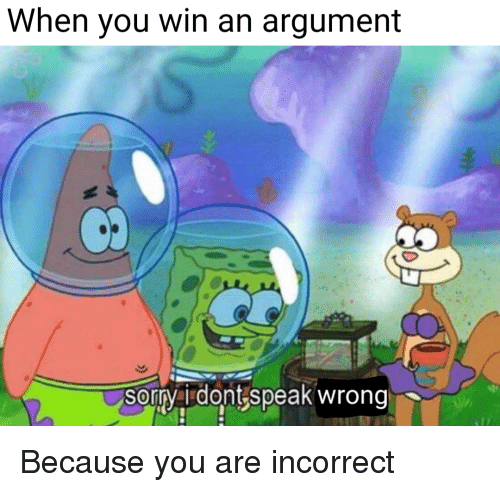 Speak, You, and Argument: When you win an argument  sorrvai dont speak wrong Because you are incorrect