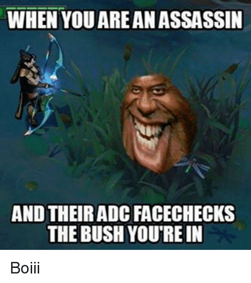when youareanassassin and their adc facechecks the bush youtrein boiii 6966406 ✅ 25 best memes about league of legends league of legends memes,Leagueoflegends Meme