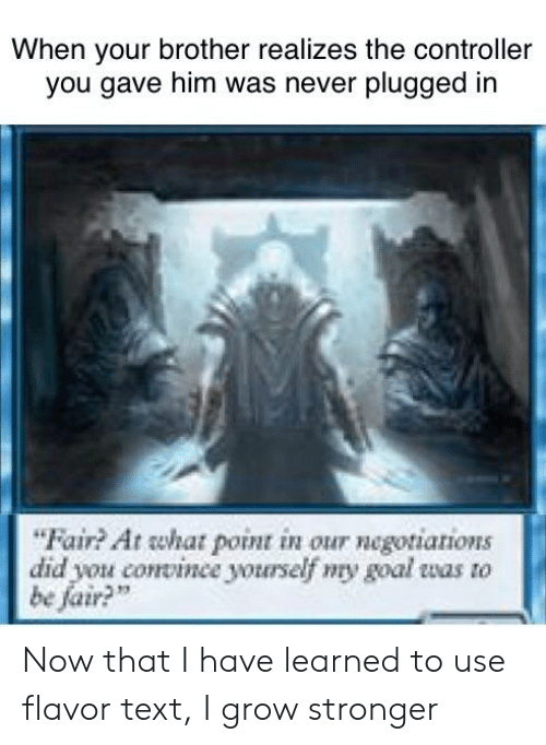 """Reddit, Goal, and Text: When your brother realizes the controller  you gave him was never plugged in  """"Fair? At what point in our negotiations  did you convinee yourself my goal was to  be fair?"""" Now that I have learned to use flavor text, I grow stronger"""