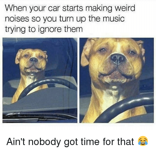 Funny, Music, and Turn Up: When your car starts making weird  noises so you turn up the music  trying to ignore therm Ain't nobody got time for that 😂