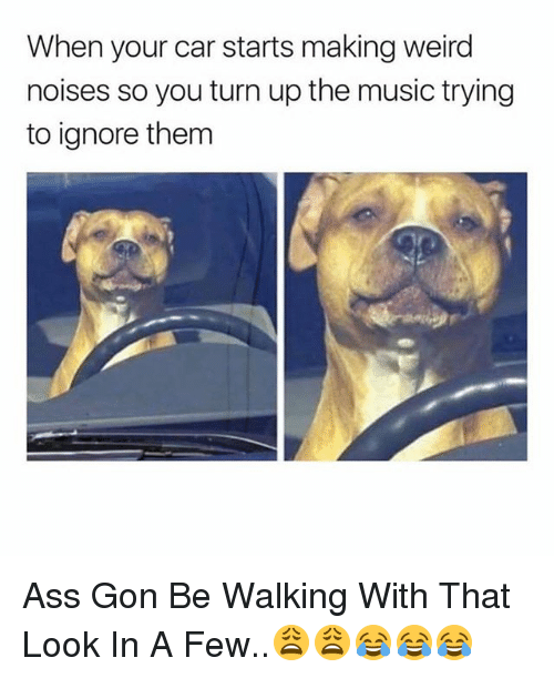 Ass, Music, and Turn Up: When your car starts making weird  noises so you turn up the music trying  to ignore them Ass Gon Be Walking With That Look In A Few..😩😩😂😂😂
