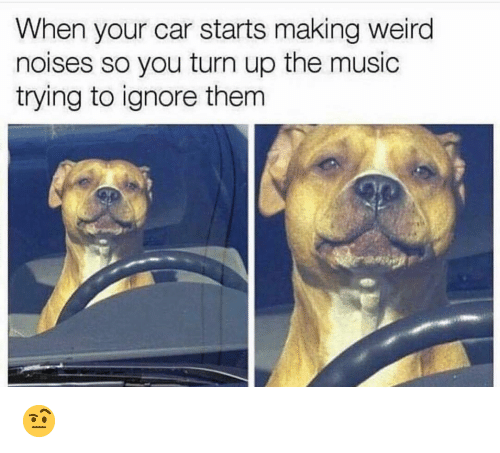 Funny, Music, and Turn Up: When your car starts making weird  noises so you turn up the music  trying to ignore them 🤨