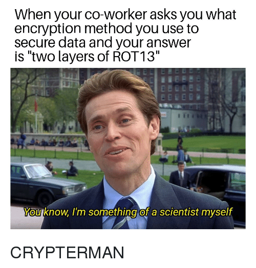"Layers, Programmer Humor, and Asks: When your co-worker asks you what  encryption method you use to  secure data and your answer  is ""two layers of ROT13""  You know, I'm something of a scientist myself"