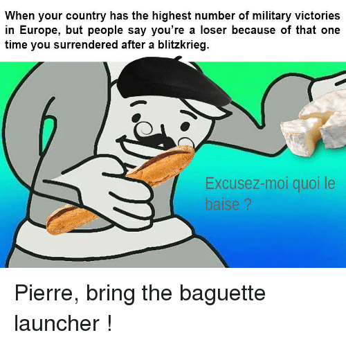 Europe, Time, and Military: When your country has the highest number of military victories  in Europe, but people say you're a loser because of that one  time you surrendered after a blitzkrieg  Excusez-mol quoi le  baise ?