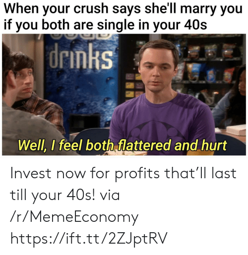 Crush, Single, and Shell: When your crush says she'll marry you  if you both are single in your 40s   drmks  Well, I feel both flattered and hurt Invest now for profits that'll last till your 40s! via /r/MemeEconomy https://ift.tt/2ZJptRV