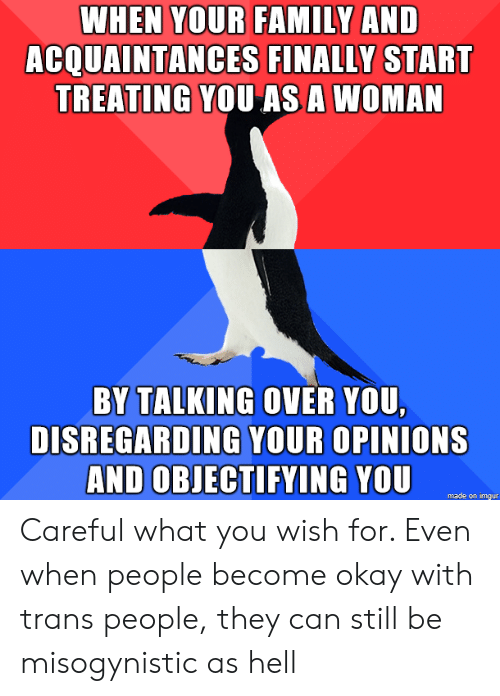 Family, Imgur, and Misogynistic: WHEN YOUR FAMILY AND  ACQUAINTANCES FINALLY START  TREATING YOU ASA WOMAN  BY TALKING OVER YOU  DISREGARDING YOUR OPINIONS  AND OBJECTIFYING YOU  made on imgur Careful what you wish for. Even when people become okay with trans people, they can still be misogynistic as hell