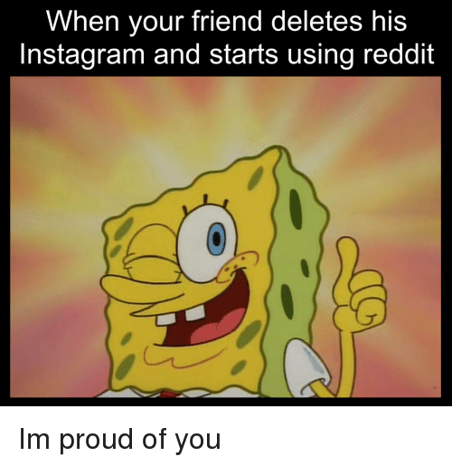 Instagram, Reddit, and Proud: When your friend deletes his  Instagram and starts using reddit Im proud of you
