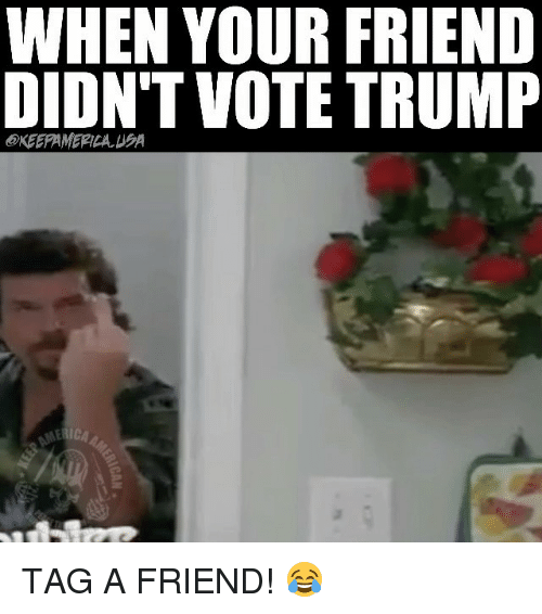 Memes, 🤖, and Voting: WHEN YOUR FRIEND  DIDNT VOTE TRUMP  ERICA TAG A FRIEND! 😂