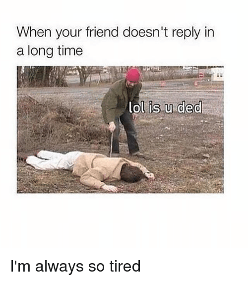 Memes, Time, and 🤖: When your friend doesn't reply in  a long time  is u ded I'm always so tired