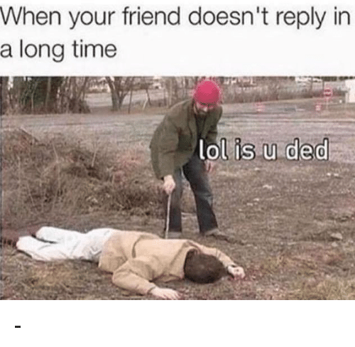 Memes, 🤖, and Ded: When your friend doesn't reply in  a long time  lol is u ded -