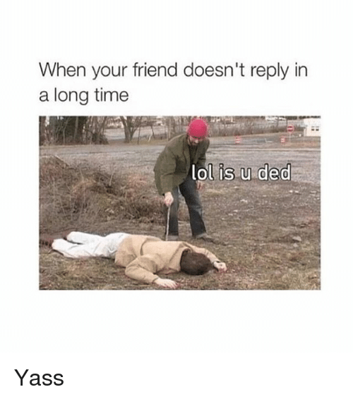 Memes, Time, and 🤖: When your friend doesn't reply in  a long time  ol is u ded Yass