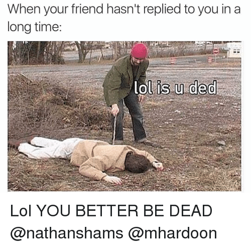 Funny, Friend, and Times: When your friend hasn't replied to you in a  long time:  lol is u ded Lol YOU BETTER BE DEAD @nathanshams @mhardoon