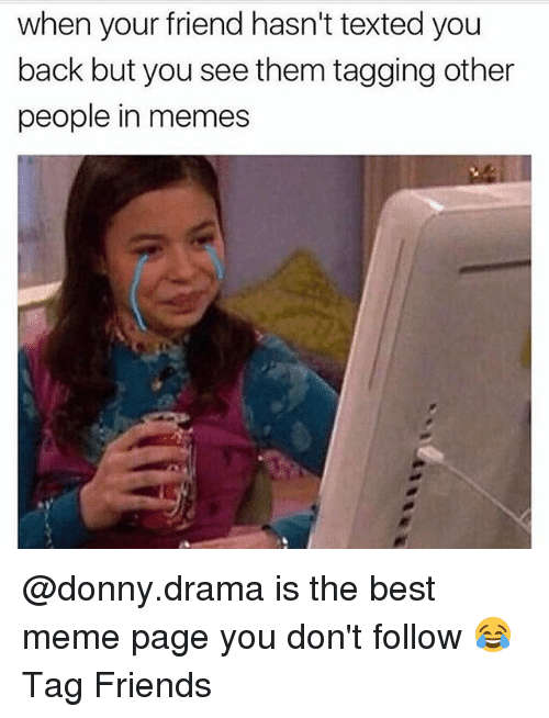 Friends, Meme, and Memes: when your friend hasn't texted you  back but you see them tagging other  people in memes @donny.drama is the best meme page you don't follow 😂Tag Friends