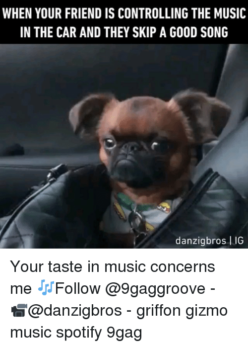 9gag, Memes, and Music: WHEN YOUR FRIEND IS CONTROLLING THE MUSIC  IN THE CAR AND THEY SKIP A GOOD SONG  danzigbros IIG Your taste in music concerns me 🎶Follow @9gaggroove - 📹@danzigbros - griffon gizmo music spotify 9gag
