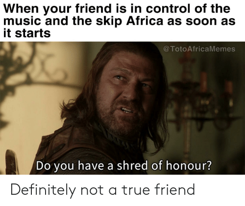 Africa, Definitely, and Music: When your friend is in control of the  music and the skip Africa as soon as  it starts  @TotoAfricaMemes  Do you have a shred of honour? Definitely not a true friend