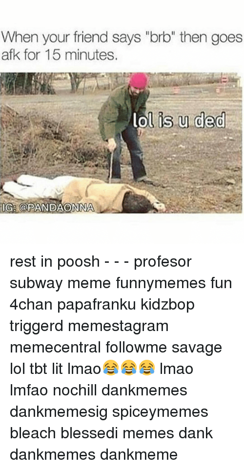 "Memes, Subway, and Bleach: When your friend says ""brb"" then goes  afk for 15 minutes.  lol is u ded  IGA @PANDAONONA rest in poosh - - - profesor subway meme funnymemes fun 4chan papafranku kidzbop triggerd memestagram memecentral followme savage lol tbt lit lmao😂😂😂 lmao lmfao nochill dankmemes dankmemesig spiceymemes bleach blessedi memes dank dankmemes dankmeme"