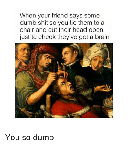 Dumb, Head, and Shit: When your friend says some  dumb shit so you tie them toa  chair and cut their head opern  just to check they've got a brain You so dumb