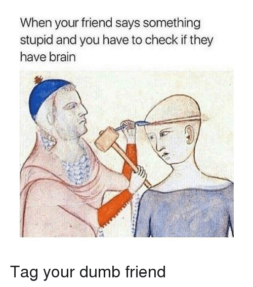 Dumb, Brain, and Classical Art: When your friend says something  stupid and you have to check if they  have brain Tag your dumb friend