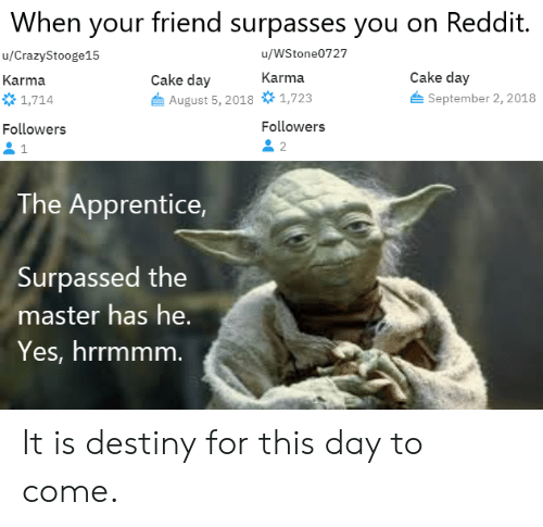 When Your Friend Surpasses You on Reddit uWStone0727