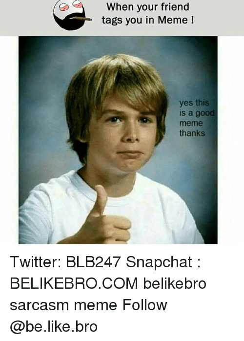 Be Like, Meme, and Memes: When your friend  tags you in Meme  yes this  s a goo  meme  thanks Twitter: BLB247 Snapchat : BELIKEBRO.COM belikebro sarcasm meme Follow @be.like.bro
