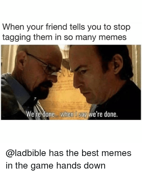 Memes, The Game, and Best: When your friend tells you to stop  tagging them in so many memes  We're done.. when I say we're done. @ladbible has the best memes in the game hands down