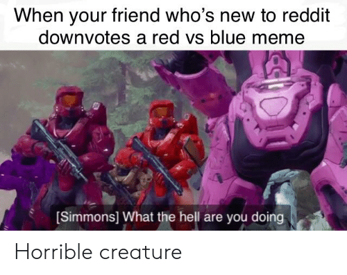 Meme, Reddit, and Blue: When your friend who's new to reddit  downvotes a red vs blue meme  (Simmons) What the hell are you doing Horrible creature