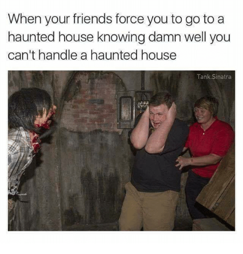 Friends, Memes, and House: When your friends force you to go to a  haunted house knowing damn well you  can't handle a haunted house  Tank Sinatra