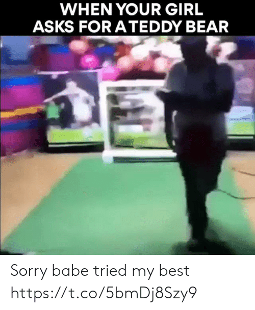 Memes, Sorry, and Bear: WHEN YOUR GIRL  ASKS FORATEDDY BEAR Sorry babe tried my best https://t.co/5bmDj8Szy9