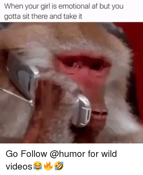 Af, Videos, and Girl: When your girl is emotional af but you  gotta sit there and take it Go Follow @humor for wild videos😂🔥🤣