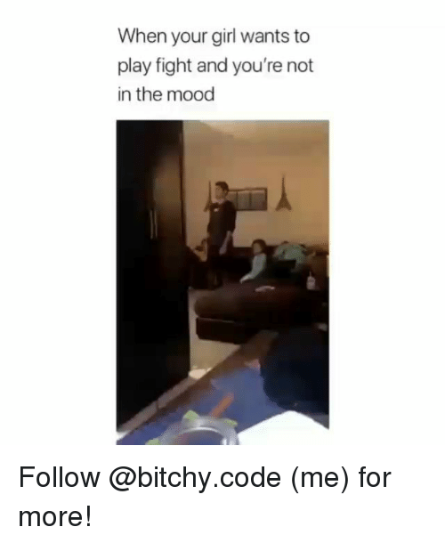Memes, Mood, and Girl: When your girl wants to  play fight and you're not  in the mood Follow @bitchy.code (me) for more!