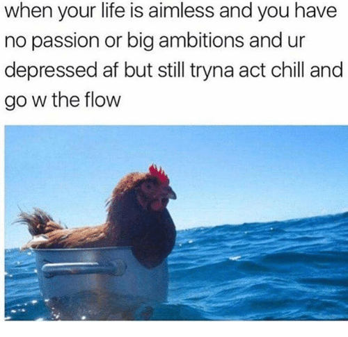 Af, Chill, and Life: when your life is aimless and you have  no passion or big ambitions and ur  depressed af but still tryna act chill and  go w the flow