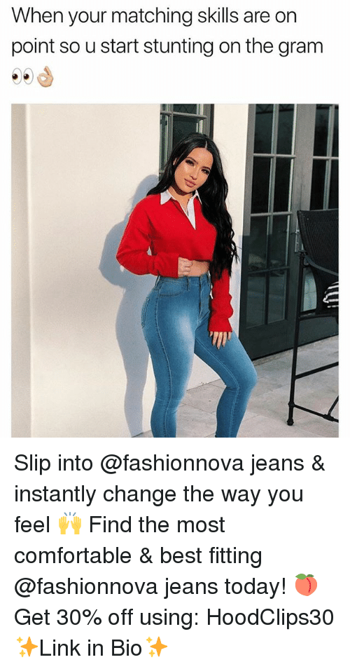 Comfortable, Funny, and Best: When your matching skills are on  point so u start stunting on the gram Slip into @fashionnova jeans & instantly change the way you feel 🙌 Find the most comfortable & best fitting @fashionnova jeans today! 🍑 Get 30% off using: HoodClips30 ✨Link in Bio✨