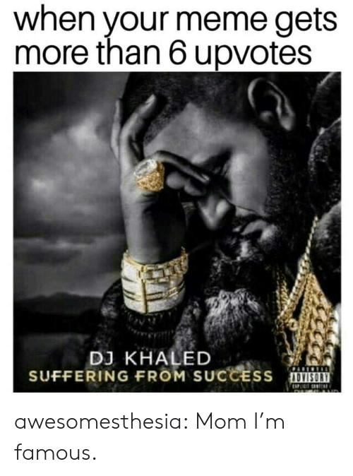 DJ Khaled, Meme, and Tumblr: when your meme gets  more than 6 upvotes  DJ KHALED  SUFFERING FROM SUCCESS OVISOR awesomesthesia:  Mom I'm famous.
