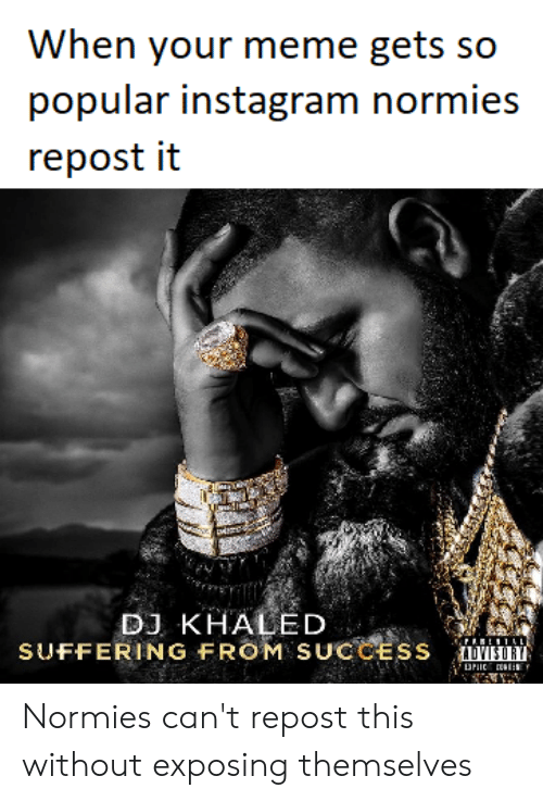 DJ Khaled, Instagram, and Meme: When your meme gets so  popular instagram normies  repost it  DJ KHALED  SUFFERING FROM SUCCESS Normies can't repost this without exposing themselves