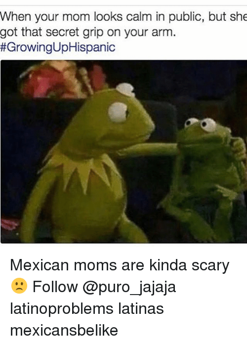 Memes, Moms, and Mexican: When your mom looks calm in public, but she  got that secret grip on your arm.  Mexican moms are kinda scary 🙁 Follow @puro_jajaja latinoproblems latinas mexicansbelike