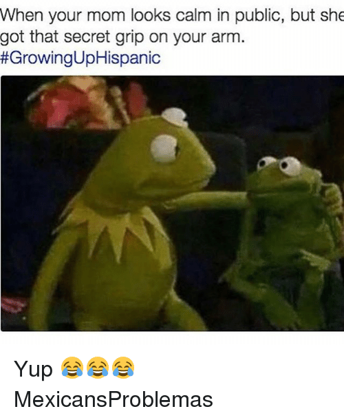 Memes, Mom, and 🤖: When your mom looks calm in public, but she  got that secret grip on your arm  Yup 😂😂😂 MexicansProblemas
