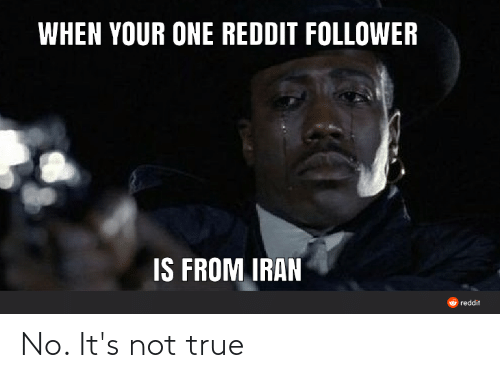 Reddit, True, and Iran: WHEN YOUR ONE REDDIT FOLLOWER  IS FROM IRAN  O reddit No. It's not true