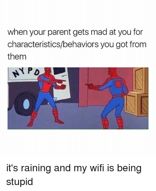 Wifi, Girl Memes, and Mad: when your parent gets mad at you for  characteristics/behaviors you got from  them it's raining and my wifi is being stupid
