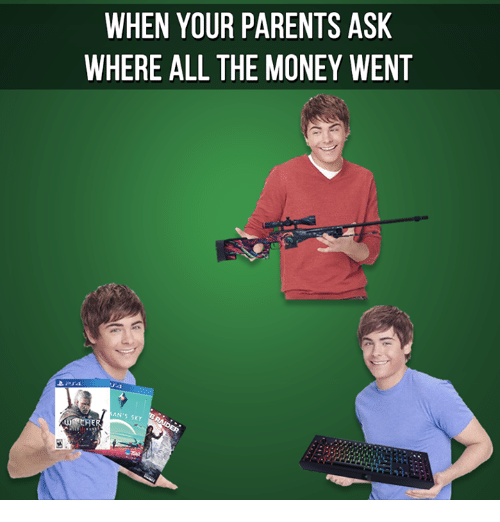 Video Games, Ask, and Sky: WHEN YOUR PARENTS ASK  WHERE ALL THE MONEY WENT  ANTS SKY