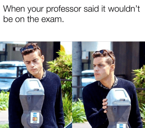 Visa, Professor, and Exam: When your professor said it wouldn't  be on the exam  VISA
