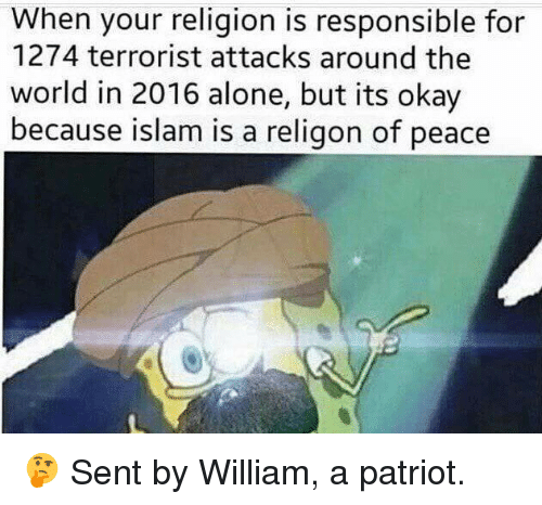 Being Alone, Memes, and Islam: When your religion is responsible for  1274 terrorist attacks around the  world in 2016 alone, but its okay  because islam is a religon of peace 🤔  Sent by William, a patriot.